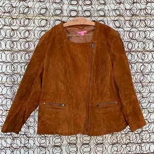 Woman Within suede leather moto bomber jacket